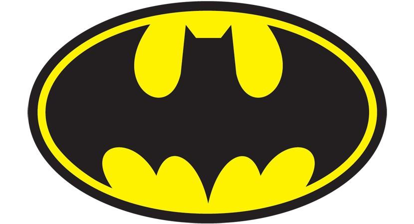 Logotipo de batman tipico con murcielago negro y fondo amarillo