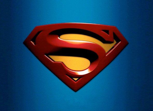 Logotipo de superman sobre fondo azul clasico