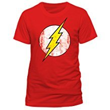 camiseta de superheroes roja con rayo de flash