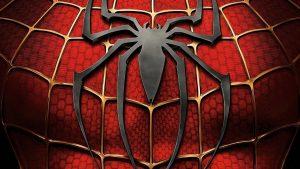 logo de spiderman con fondo rojo